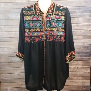JOHNNY WAS Floral Embroidered Tunic size L
